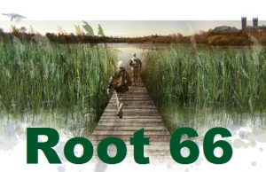 Two people on a boardwalk through tall reeds towards an expanse of water, with Root 66 text