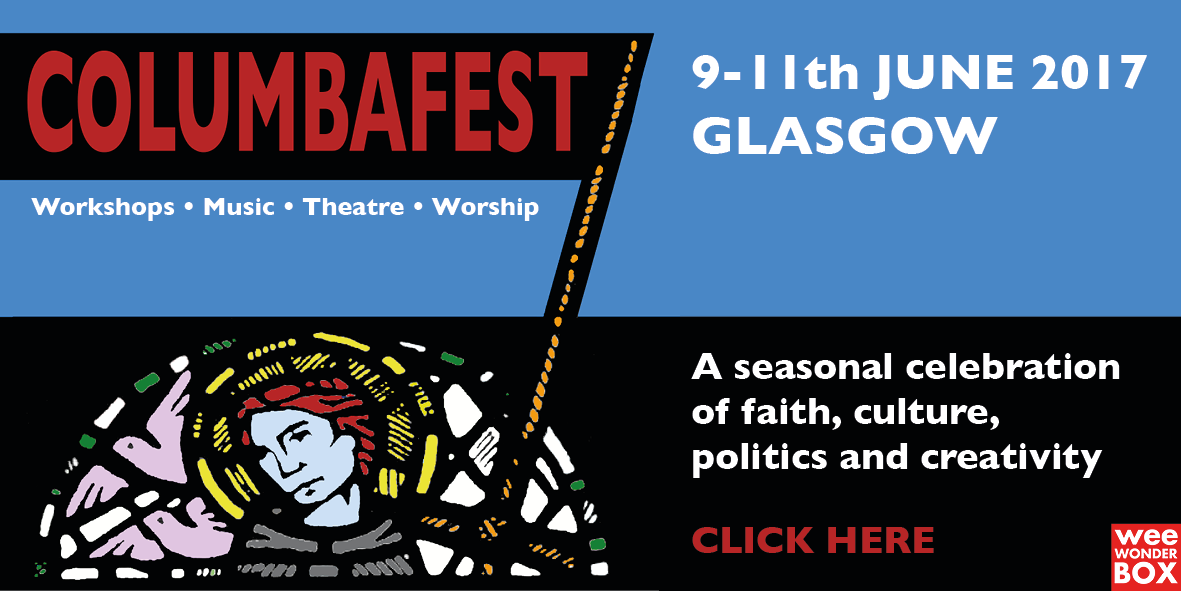 ColumbaFest logo (Iona Abbey stain glass window) with banner + dates