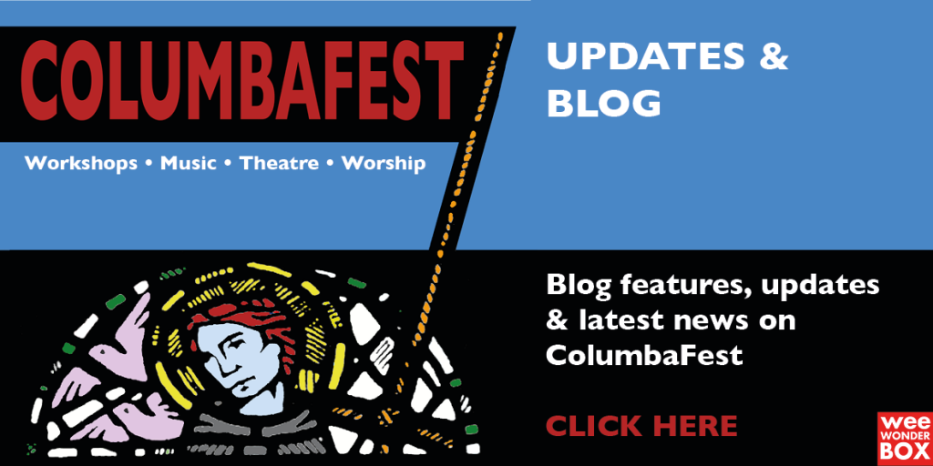 ColumbaFest logo (Iona Abbey stain glass window) with banner + blog link