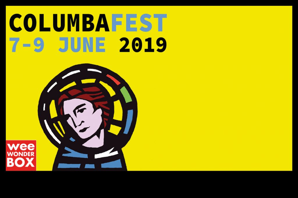 ColumbaFest 2019 7-9 June text on yellow background with thick black border, with cut-out image of Columba plus weeWONDERBOX logo in red and white