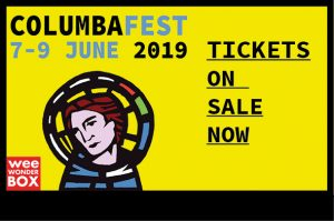 columna head and shoulders on yellow background, with columbafest 2019 tickets on sale now text