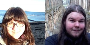 Woman head and shoulders on seashore & man head and shoulders in church ruins