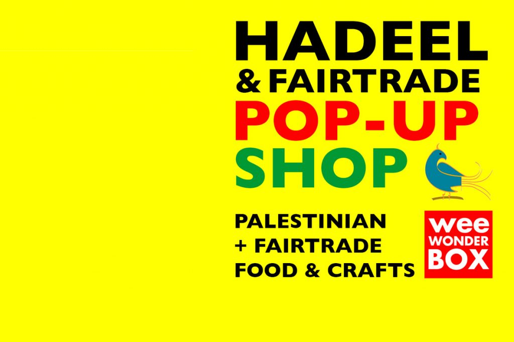 Hadeel + Fairtrade Pop-Up Shop text on bright yellow background with Hadeel (bird) and weeWONDERBOX red box logo