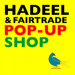 Hadeel & Fair Trade Pop Up shop text on yellow background with blue Hadeel bird logo