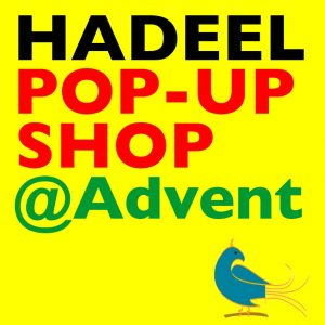 'Hadeel Pop-Up Shop' in Black, red and green on yellow background with blue Palestinian dove logo.