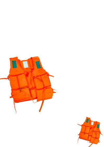 If image - a large and a smal orange life-jacket on a white background