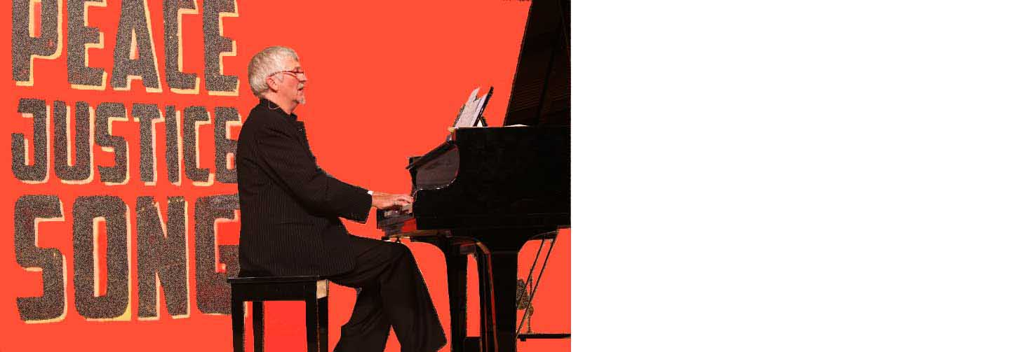 John Bell at black grand piano against a red background with the words 'Peace, Justice, Song'