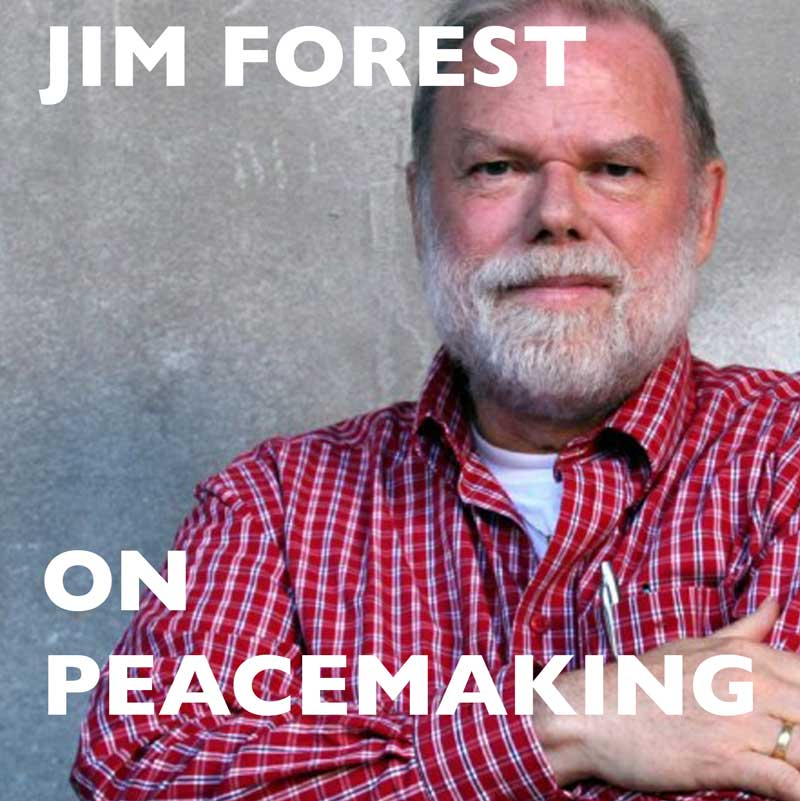 Jim Forest, man in check shirt with beard against grey wall and event title text