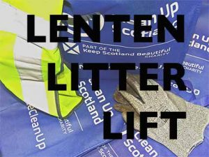 Lenten Litter Lift text over images of gloves, rubbish bags and hi-vis jacket