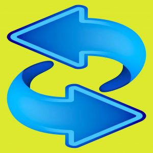 2 blue curved arrows on green yellow background