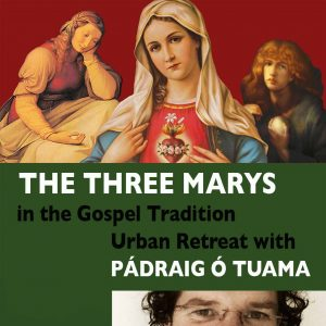 Three Marys in art reproduction, event title and image odf Padraig O Tuama's eyes