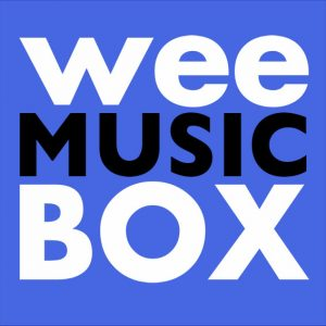 wee music box, white and black text on blue background