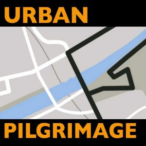 Coloured map with the text 'Urban Pilgrimage' in orange on black bands top and bottom