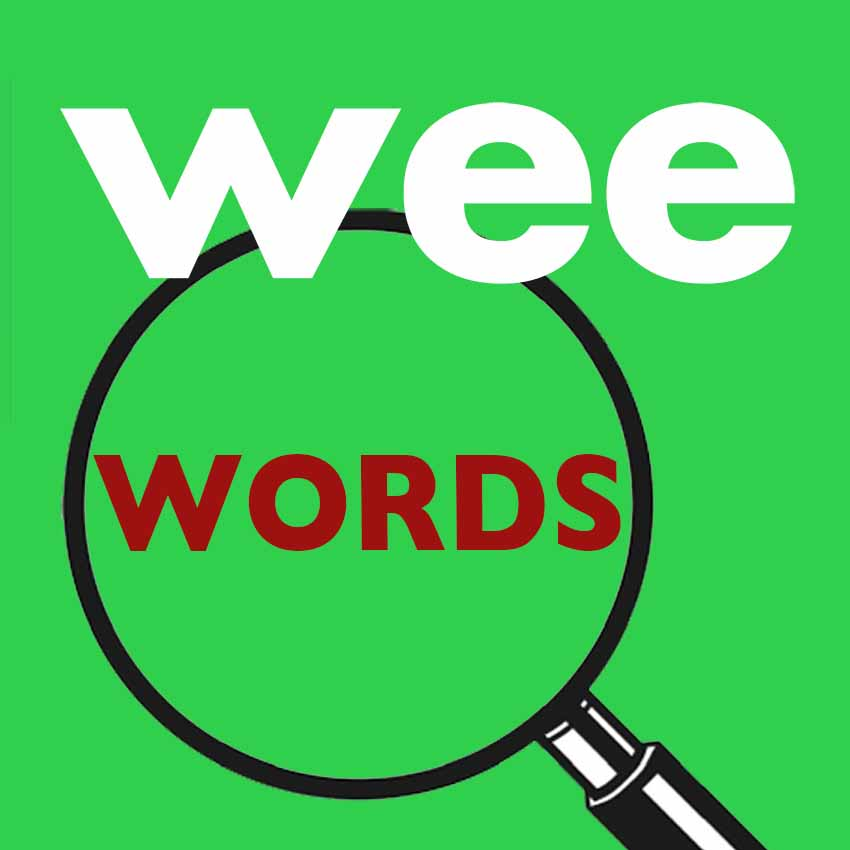 Wee Words tex over magnifying glass on bright green background