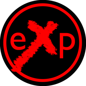 eXP Cowal logo - red text on circular black ground