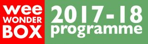 weeWONDERBOX logo + 2017-18 programme text on red and green background